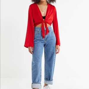 Out From Under Penelope Satin Tie Front Crop Top